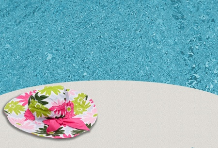 Pink flowered sun hat on a white background, Summer Time