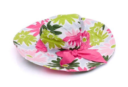 Pink flowered sun hat on a white background, floppy sun hat Stock Photo