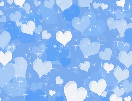 copy space: White and blue hearts on a blue sparkly background, heart background Stock Photo