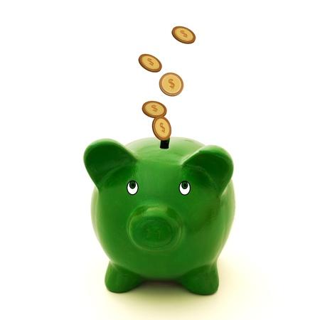 Een groene spaarvarken met gouden munten op een witte achtergrond, veel geld Stockfoto