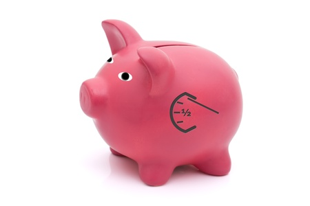 A pink piggy bank with a gauge on a white background, How much are you saving photo