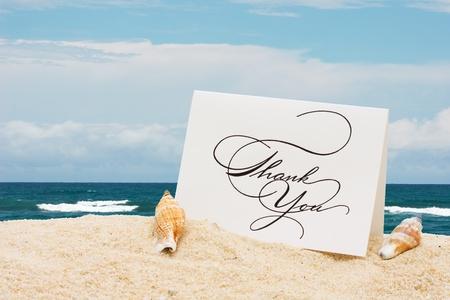 gratitudine: Una carta ringrazio con conchiglie seduto sulla sabbia con acqua, vacanza vi ringrazio