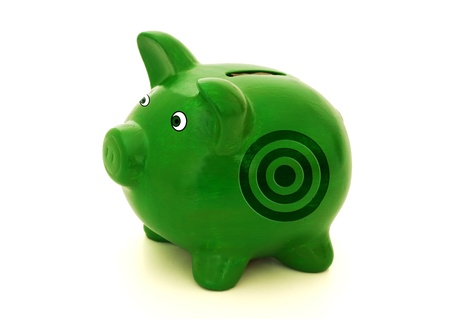 A green piggy bank with a bulls eye on a white background, On target for your savings