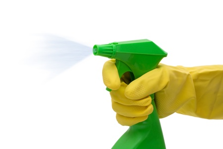 A green spray bottle with a hand and latex gloves isolated on white,  Cleaning Time