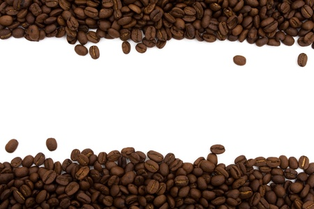 Coffee beans on both sides isolated on white for a coffee border