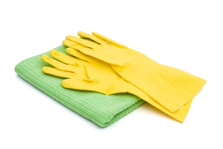 germ free: A pair of latex cleaning gloves with a green towel isolated on white,  Cleaning Time