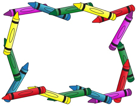 A full border of crayons, a school background