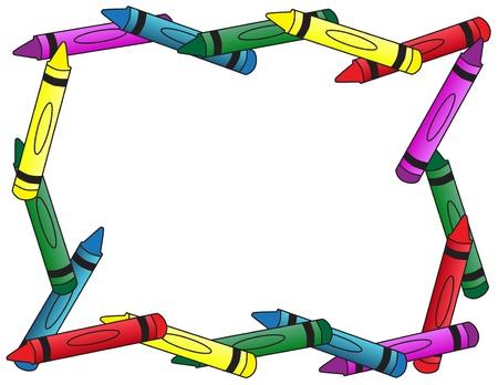 Een volle rand met kleurpotloden, een schoolachtergrond