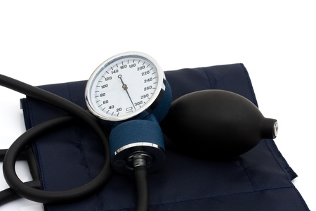 A blood pressure reading device, Sphygmomanometer isolated on white, High blood pressure Stock Photo - 9514331