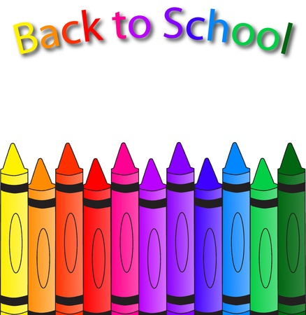 Back to school with crayons on the bottom, a school background
