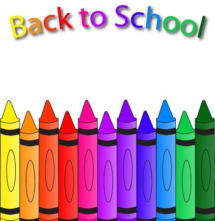 Terug naar school met kleurpotloden op de bodem, een school-achtergrond