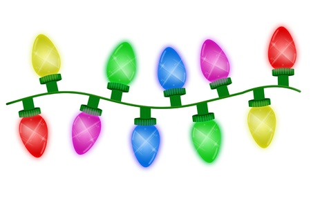 Christmas lights illustrated on a white background, christmas time