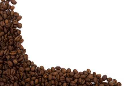 Coffee beans on the side isolated on white for a coffee border