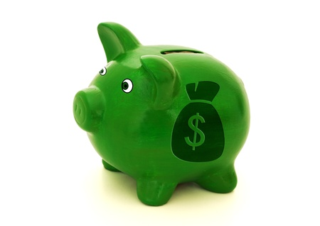 A green piggy bank with a money bag on a white background, Lots of Money