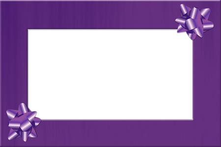 Purple ribbon border with two bows isolated on white, Holiday Border