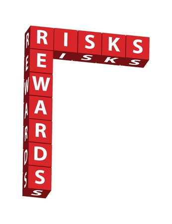 The word risks and rewards in red blocks isolated on white