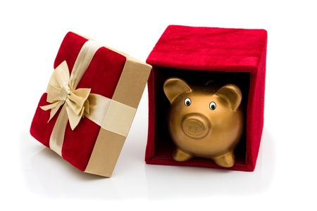 A red velvet present opened with piggy bank and gold bow isolated on white, Happy Holidays photo