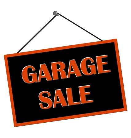garage background: Garage sale sign hanging from nail isolated over white