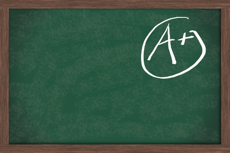 Chalkboard with an A+ in chalk with copy space for your message, Good Gades Stock Photo - 9579867
