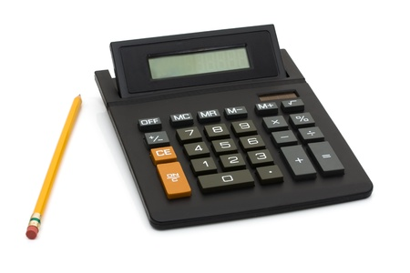 A black calculator with pencil isolated on white, Working on your budget Stock Photo