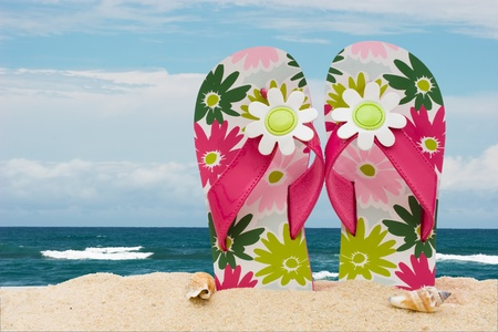 A pair of colorful flip on the sand at the beach, Day at the beach photo