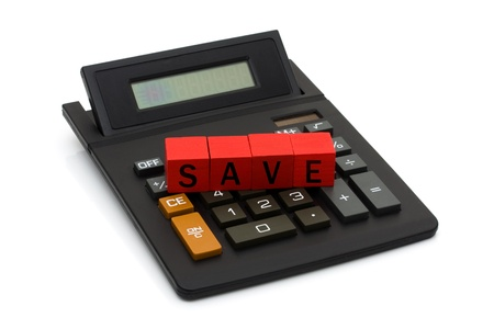 A black calculator with blocks spelling save isolated on white, Calculating your savings