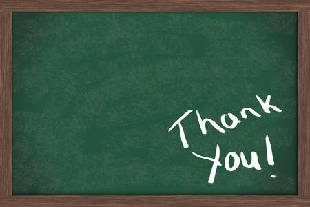 te negro: Gracias, escrito en una pizarra con mucho espacio de copia de tu mensaje Foto de archivo