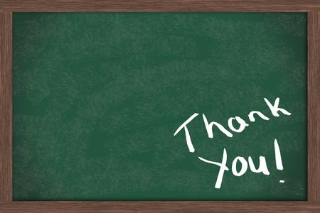 thank you note: Thank you written on a blackboard with a lot of copy space for your message