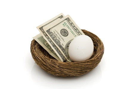 Money with an egg in a nest isolated on white, Saving for your retirement Stock Photo