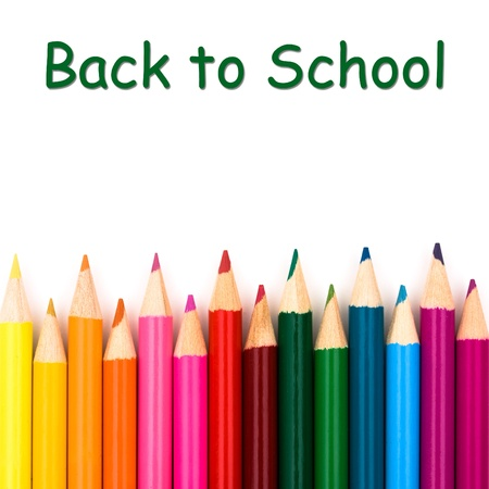 Back to school with pencil crayons border, a school background photo