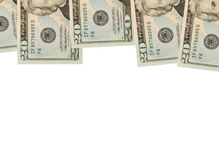 20: Billetes de veinte d�lares sentada sobre un fondo blanco, borde de dollar bill