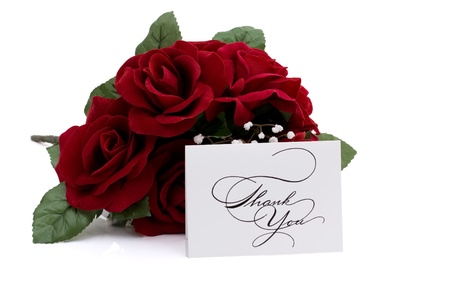 A red bouquet of rose with a thank you note isolated on white, Thank you Stock fotó