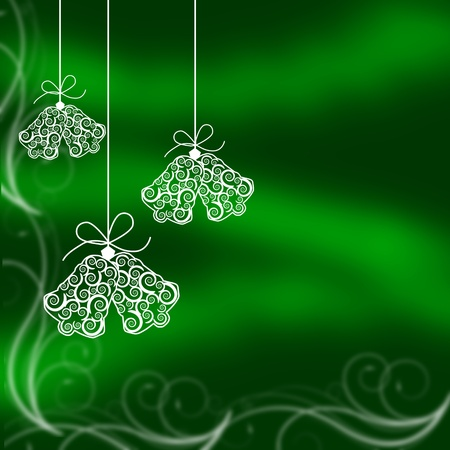 Christmas bells illustrated on a green background, christmas time photo