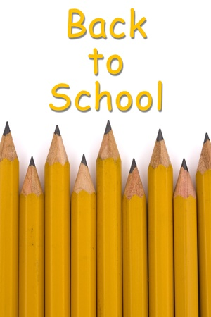 A yellow pencil border with text isolated on a white background, Back to School photo