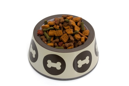 A dog dish with dog food isolated on white, dog food Banco de Imagens