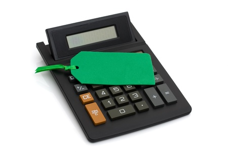 Calculator with green price tag isolated on white, having a sale Stock Photo - 9882604