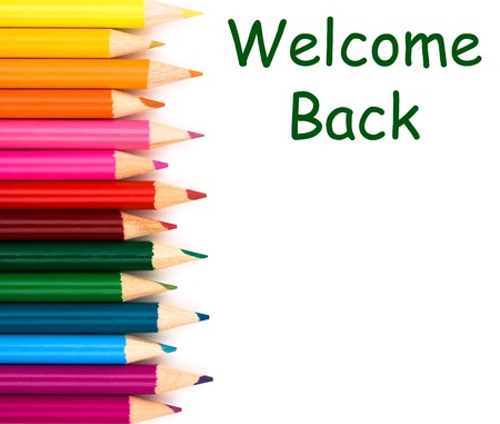 Welcome back to school with pencil crayons border isolated on white, a school background Zdjęcie Seryjne