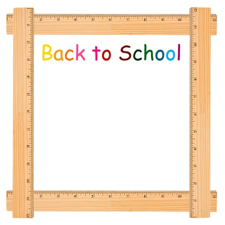 Back to school with wooden ruler border, a school background