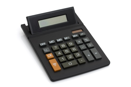 compute: A black calculator isolated on a white background with an empty display Stock Photo