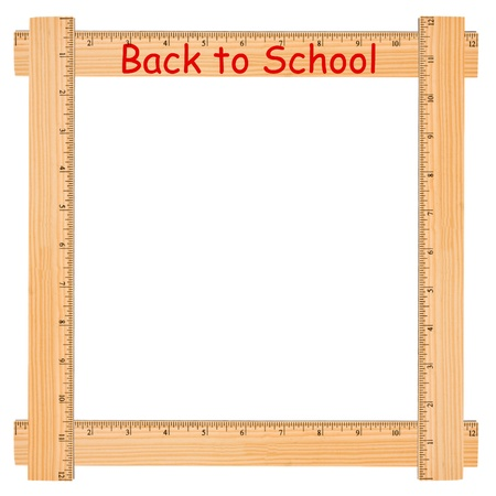 school border: Back to school with wooden ruler border, a school background