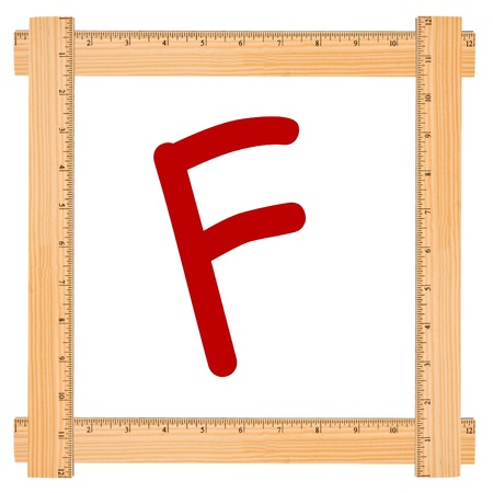 The Letter F in a wood ruler frame isolated on white, Failing Grade Banco de Imagens