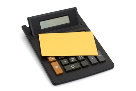 Calculator with yellow note for your message isolated on white, having a sale Stock Photo - 10031054