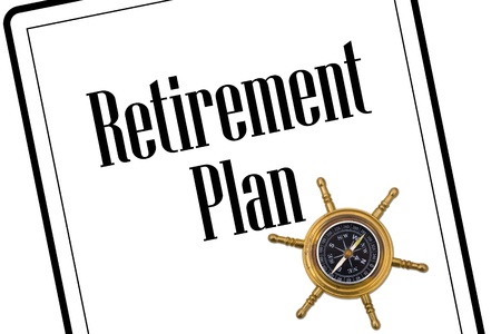 A retirement plan with a compass isolated on a white background, Planning your retirement