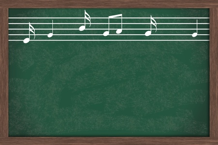 Music notes drawn on a chalkboard with copy space, Music School Days Stock Photo