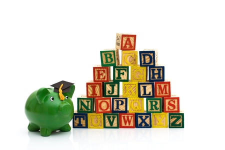 abc's: A stack to color wooden blocks of the alphabet isolated over white, Schools Costs