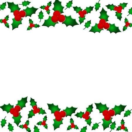 berry: A holly berry border isolated on white with copy space, Christmas border
