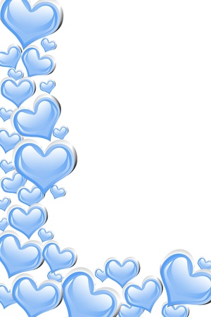 silver wedding anniversary: A blue heart background isolated on a white background with copy space, romantic background