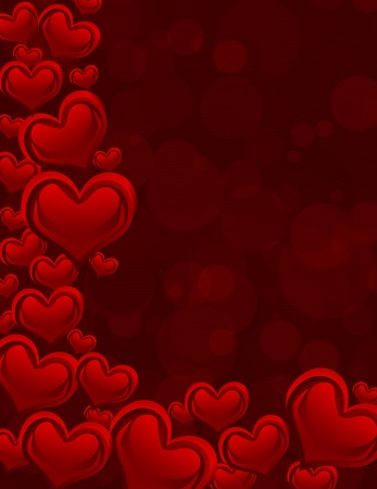 adore: A red heart background on dark red background with copy space, romantic background Stock Photo