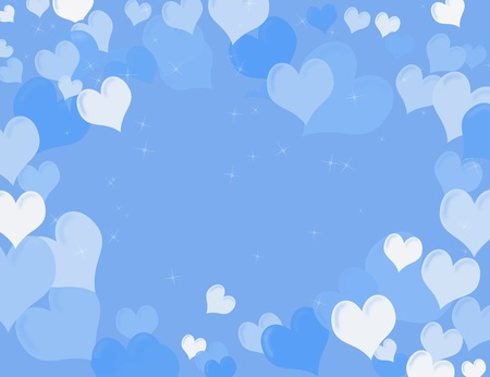 sparkly: White and blue hearts on a blue sparkly background, heart background Stock Photo