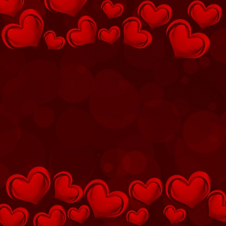 A red heart background on dark red background with copy space, romantic background photo